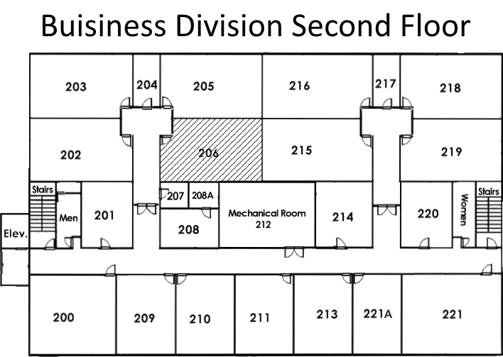 Diagram of lab on second floor of the Business Information Technology Building