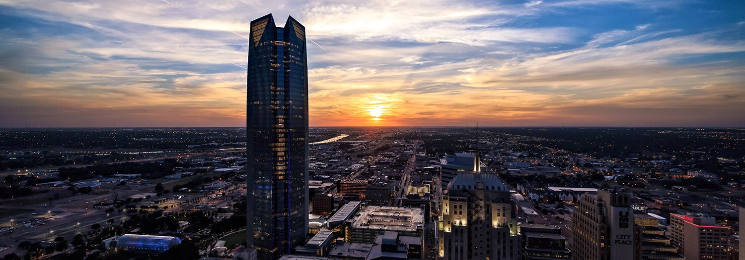 Sunset view of Oklahoma City skyline