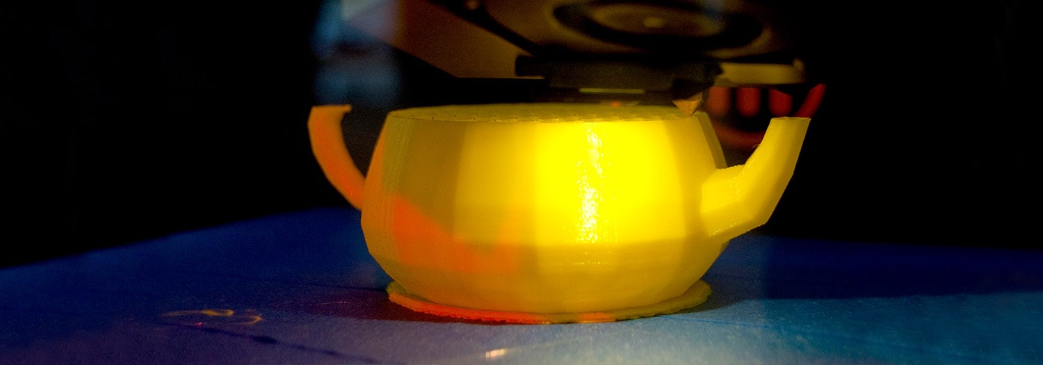 A bowl created by a 3D printer in the FabLab