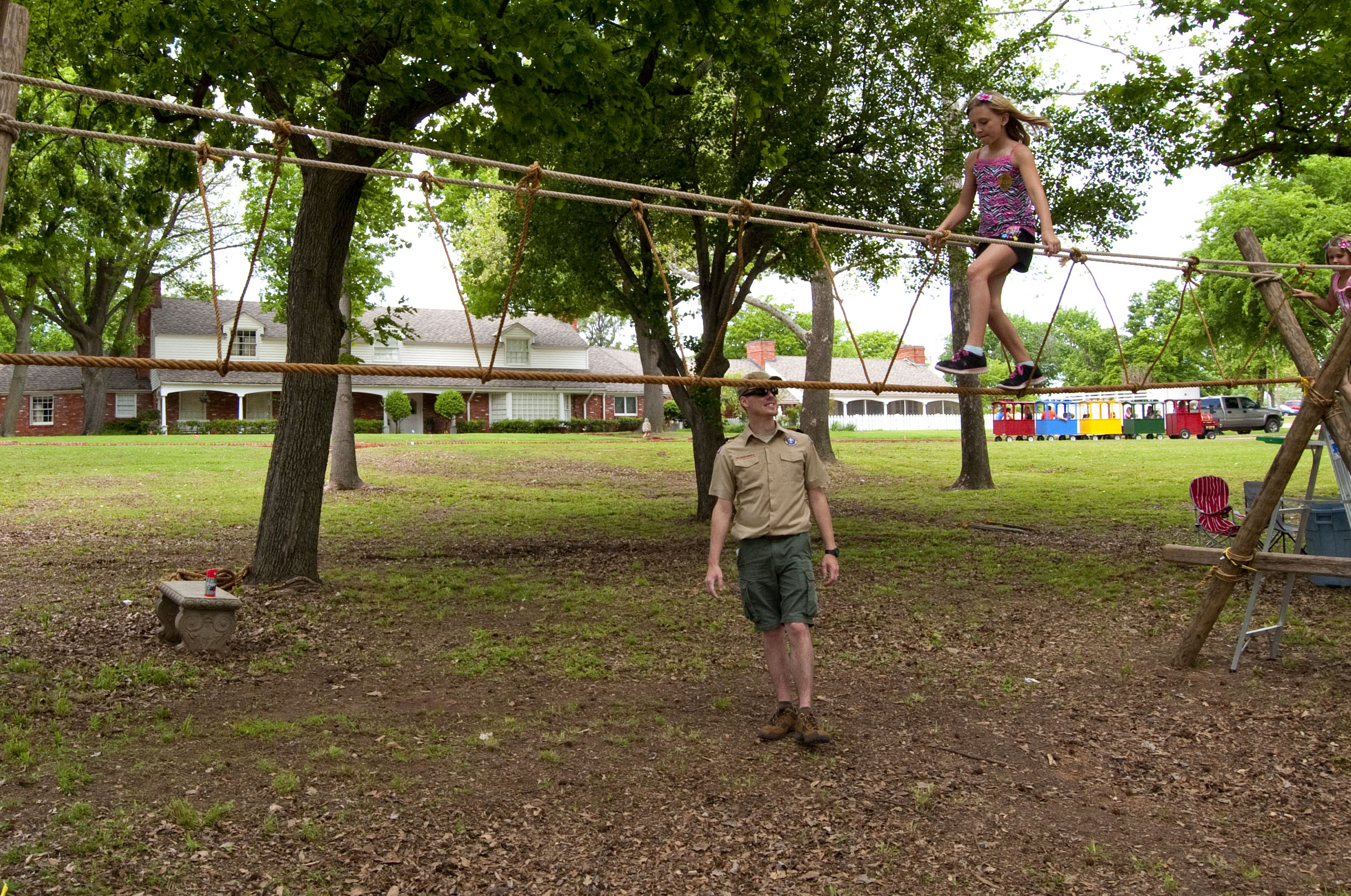 Child on the ropewalk at Heritage Day event.