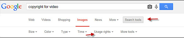 Google Usage Rights Search