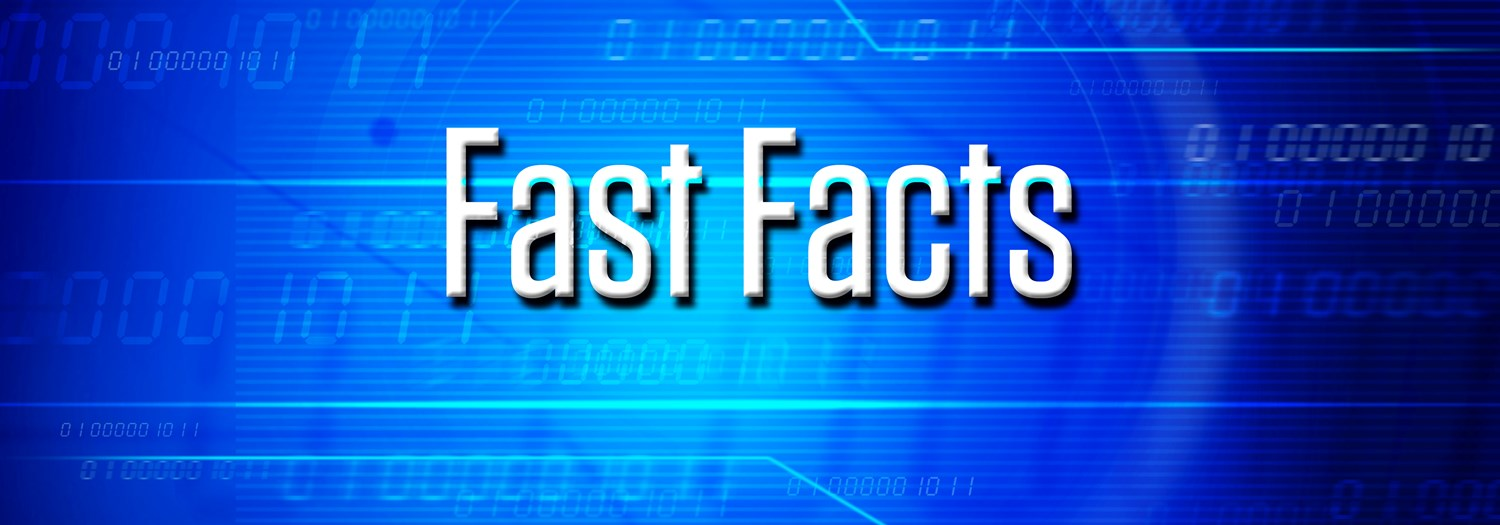 "Blue background with words ""Fast Facts"" in white."