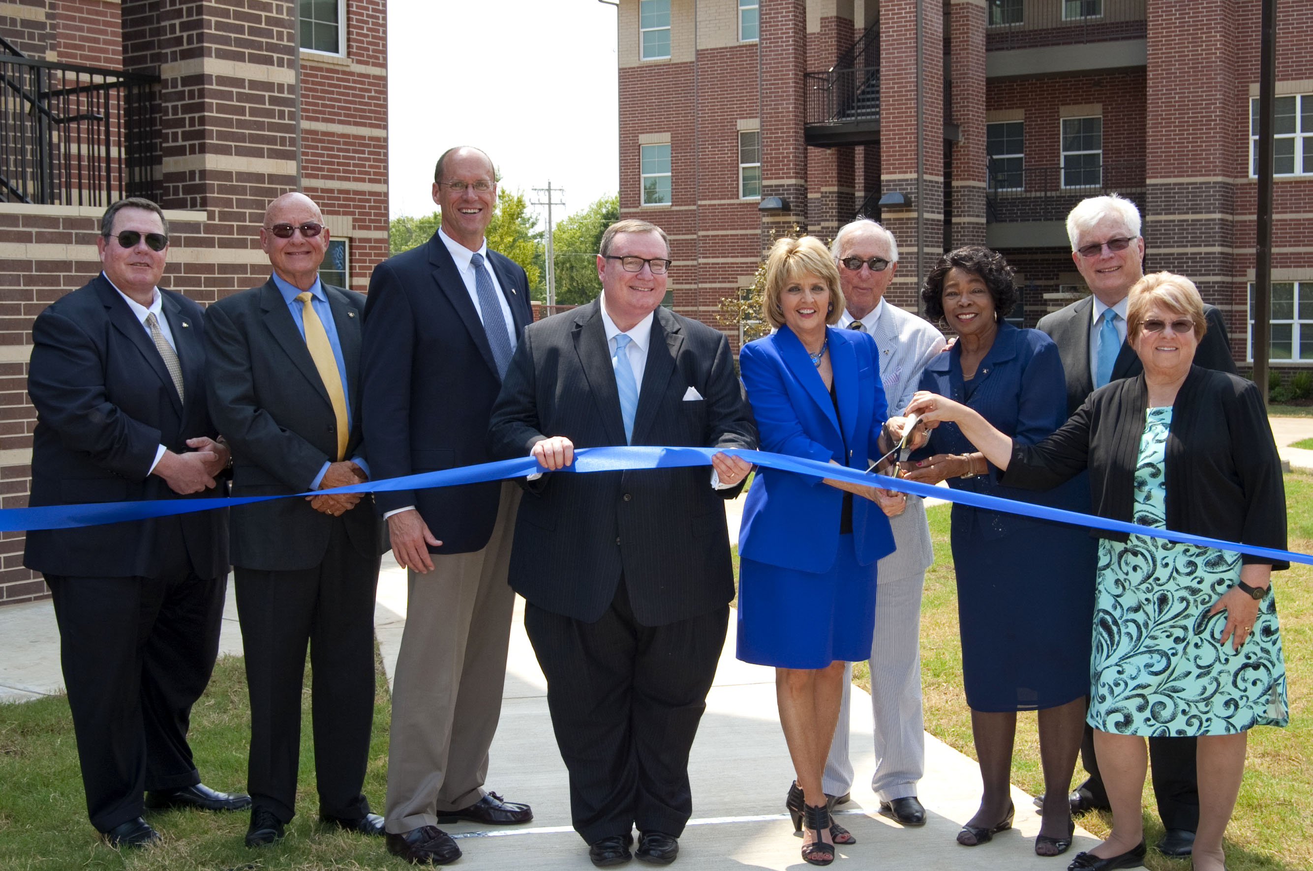 Photo cutline: Oklahoma State Regents for Higher Education Chancellor, Glen Johnson, Rose State College President, Jeanie Webb and the Rose State College Board of Regents officially open the Village @ Rose State with a ribbon cutting ceremony.