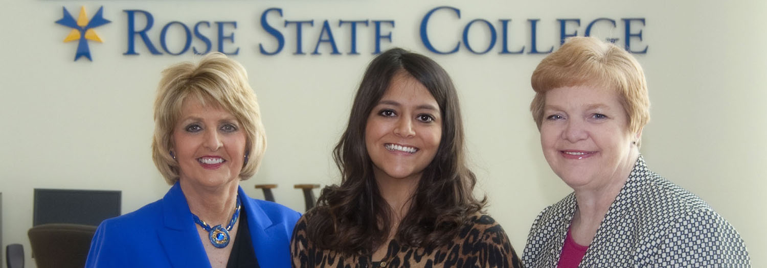 left to right – Dr. Jeanie Webb, President of Rose State College; Misty Engelbrecht, Rose State College employee and scholarship recipient; Dr. Debbie Blanke, Associate Vice Chancellor for Academic Affairs at Oklahoma State Regents for Higher Education.