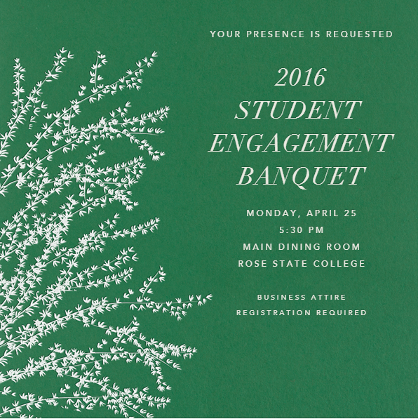 Student Engagement Banquet announcement