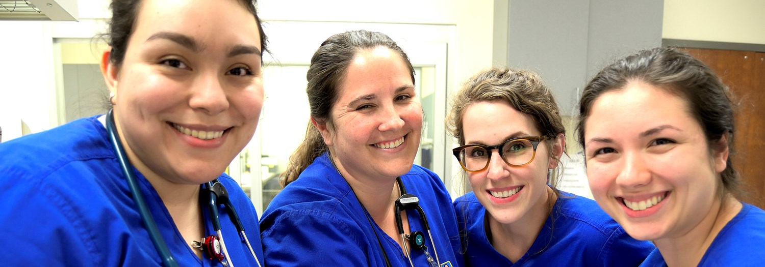 four smiling nursing students