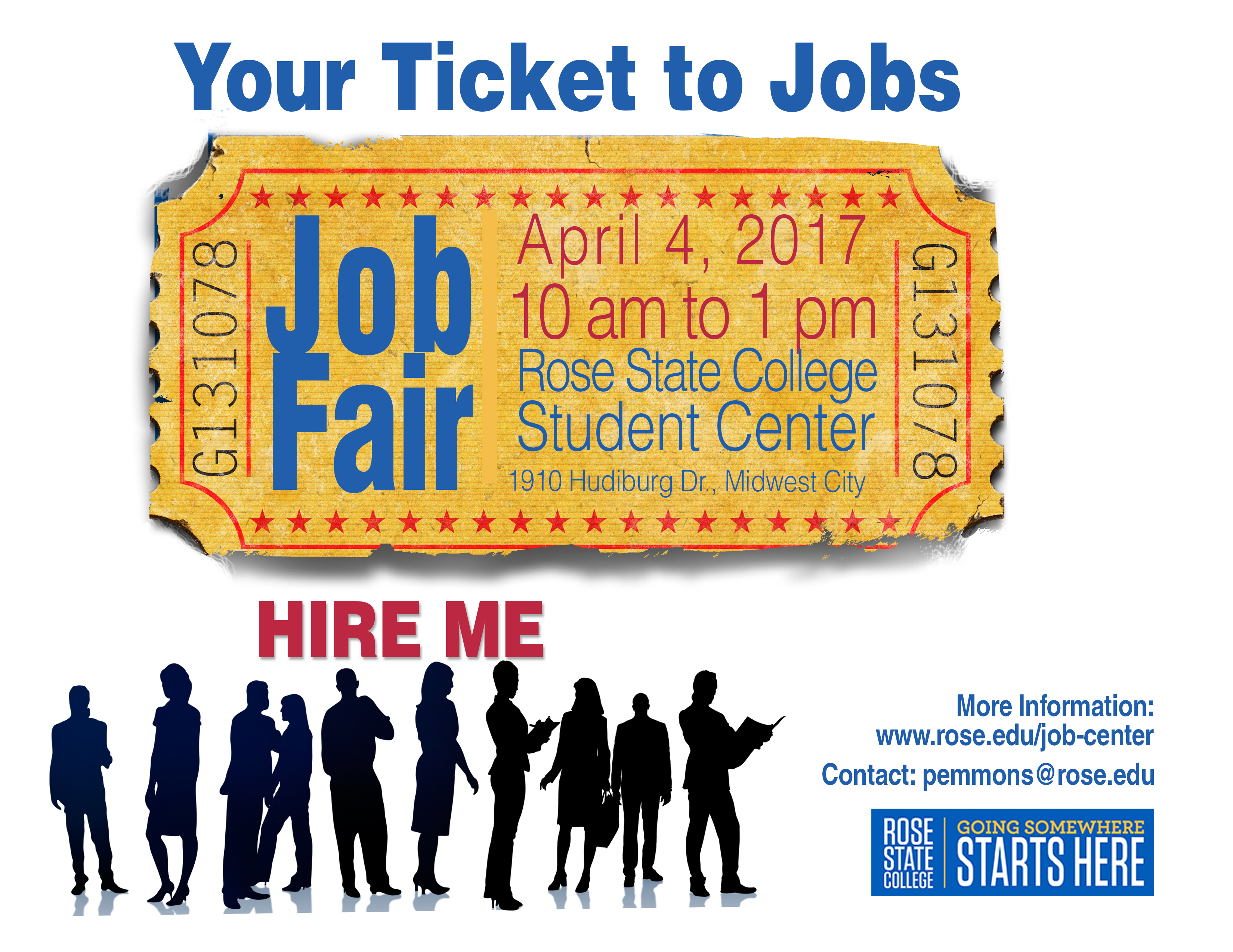 Job Fair graphic showing a ticket with date of April 4, 2017