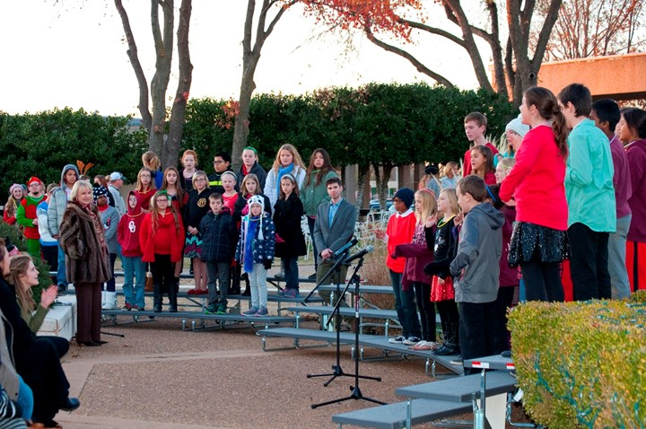 Elementary school students from Westfall and Destiny Christian singing during the Rose State College 2015 Holiday Lighting Program