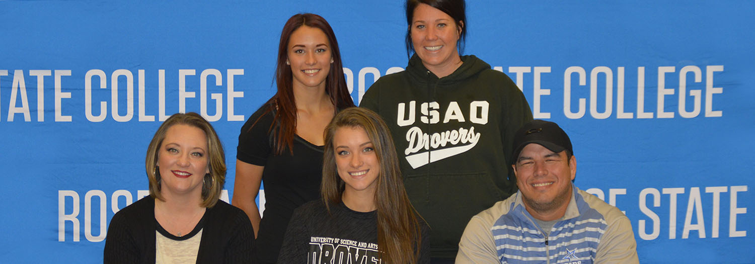 Dakota Clouse signs to play softball with the University of Science and Arts Oklahoma during a ceremony held at Rose State College. Pictured – (top row, left to right) Shyla Clouse, Jadyn Wallis – USAO Head Coach, (bottom row, left to right) Mom-Mykella Clouse, Dakota Clouse, Dad-Mark Clouse.