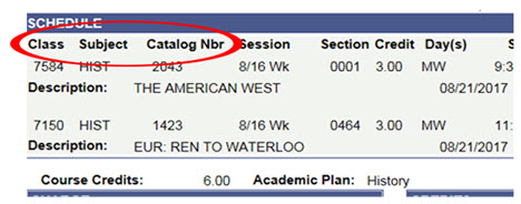 Portion of the schedule showing headings for Class, Subject and Catalog Number information
