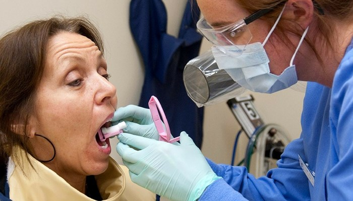 Dental patient getting an exam