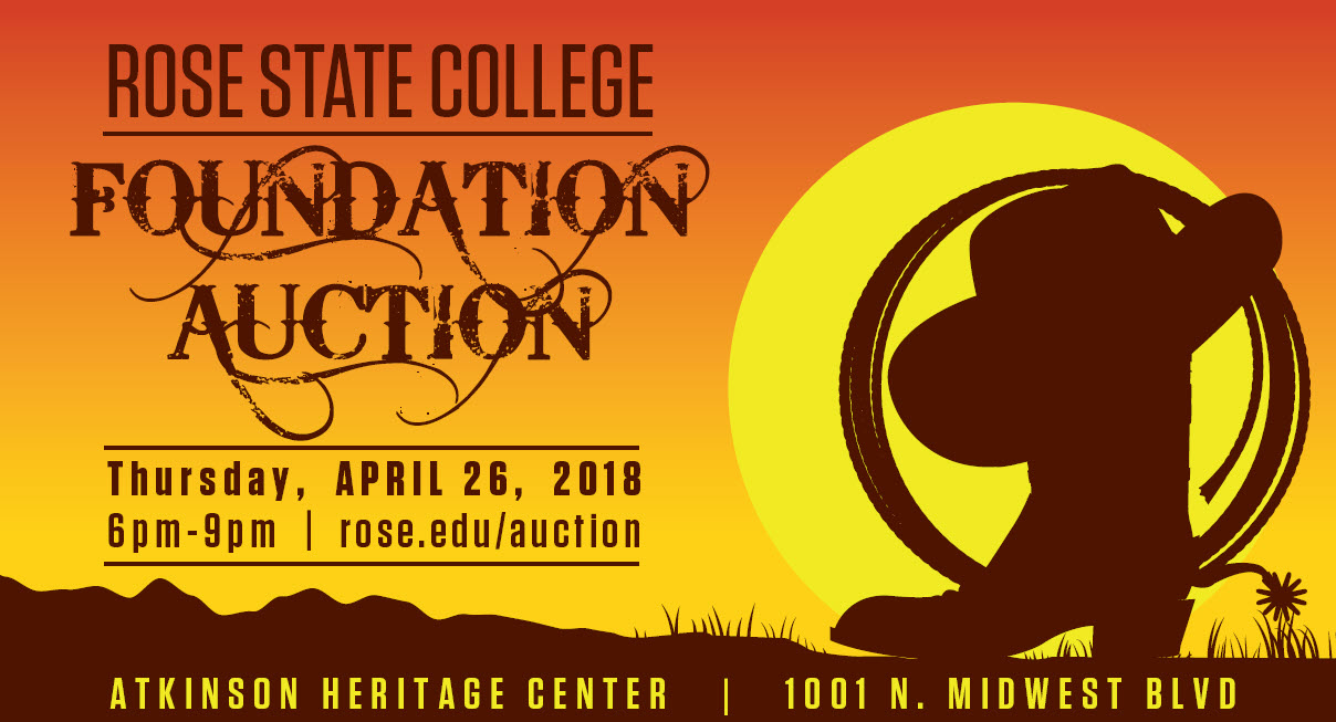 A western-themed sunset illustration that reads Rose State College Foundation Auction Thursday April 26 6 to 9pm rose.edu/auction
