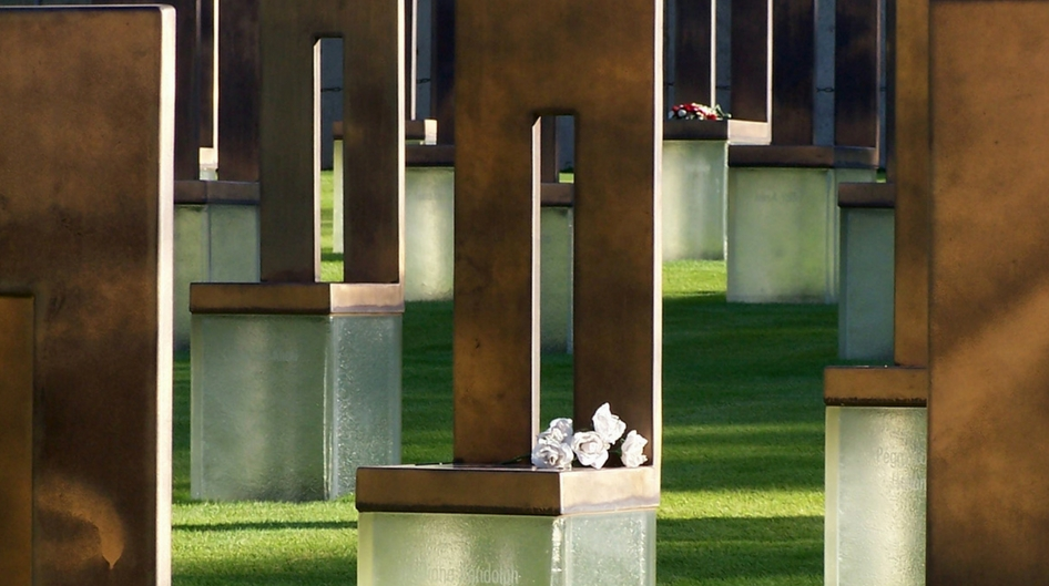 Chairs at the Oklahoma City National Memorial represent the 168 people killed in the 1995 bombing.