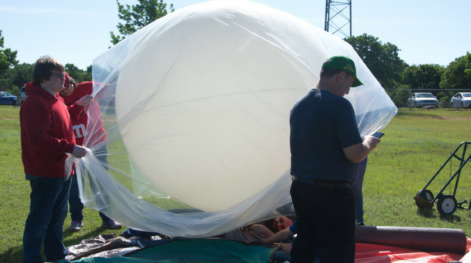 Rose State students launching a high altitude balloon