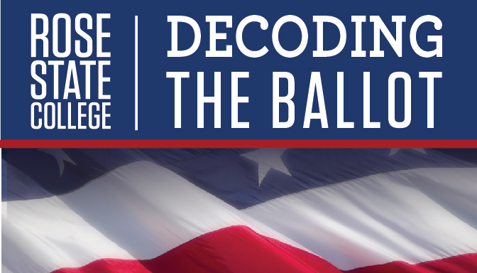 Rose State College logo and United States flag with the words Decoding the Ballot