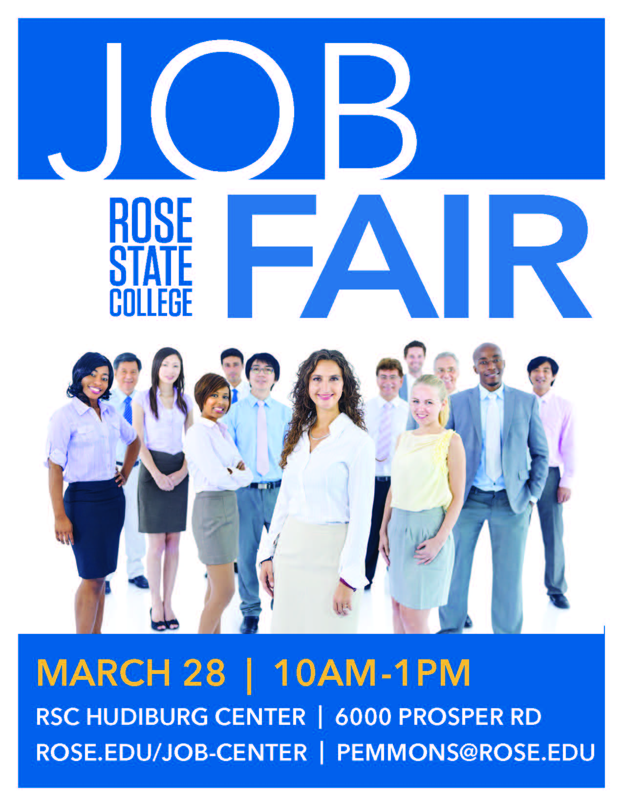 March 28 2019 Job Fair Image - RSC Hudiburg Center, 10 am - 1 pm