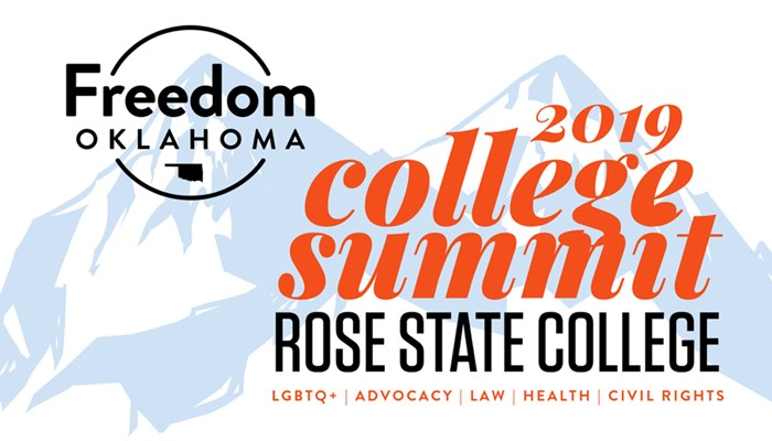 Freedom Oklahoma, rose state college and 2019 college summit logos